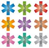 Stellen Sie von 9 Notstern-Ikonen mit Caduceus-verschiedenen Farben - Pharmaindustrie ein stock abbildung