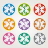 Stellen Sie von 9 Notstern-Ikonen mit Caduceus-verschiedenen Farben - Pharmaindustrie ein vektor abbildung
