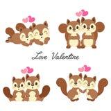 Stellen Sie von Paare Eichhörnchen in der Liebe für Valentinstag ein stock abbildung