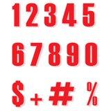 Stellen Sie von roter Form mit zehn Zahlen null bis neun, flacher Entwurf der Zahl ein Rote Farbzahl- und -prozentzeichenvektor e lizenzfreie abbildung