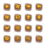 Stellen Sie von 25 runden hölzernen Ikonen in den Rahmen ein, die auf weißem Hintergrund für SpielBenutzerschnittstelle lokalisie vektor abbildung
