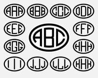 Stellen Sie 1 von Schablonen von drei Großbuchstaben ein, die in einem Oval eingeschrieben werden Von den breiten Linien der glei stock abbildung