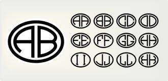 Stellen Sie 1 von Schablonen von zwei Großbuchstaben ein, die in einem Oval eingeschrieben werden Von den breiten Linien der glei vektor abbildung
