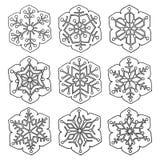 Stellen Sie von sechs-spitzen Schneeflocken der Vektorzusammenfassung ein lizenzfreies stockbild