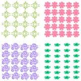 Stellen Sie von vier abstrakten Blumenmustern ein lizenzfreie abbildung