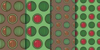 Stellen Sie von vier nahtlosen Mustern mit Wassermelonen in einer Art ein Bunte Illustration, eps10 lizenzfreie stockfotos