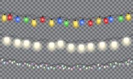 Stellen Sie von Weihnachtsbunter glühender Girlande ein vektor abbildung