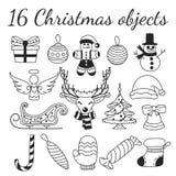 Stellen Sie von 16 Weihnachtsvektorgegenständen ein Sammlung für die Schaffung von von von Weihnachtsmustern, -hintergründen und  stockbilder