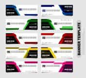 Stellen Sie von zehn abstrakten Vektorfahnen ein moderner Schablonenentwurf für Website Netzfahnen des geometrischen Stils lizenzfreie abbildung