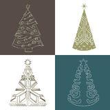 Stellen Sie Weihnachtsbaum-Handabgehobenen betrag ein Stock Abbildung
