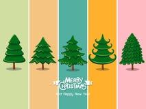 Stellen Sie Weihnachtsbaumikone auf Farbhintergrund ein Frohe Weihnachten und stockbild