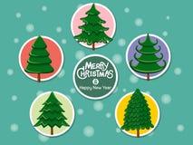 Stellen Sie Weihnachtsbaumikone auf Farbhintergrund ein Frohe Weihnachten und lizenzfreie stockfotografie