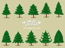 Stellen Sie Weihnachtsbaumikone auf Farbhintergrund ein Frohe Weihnachten und lizenzfreie stockbilder