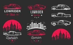 Stellen Sie Weinlese Lowrider Logo Badge und Zeichen ein lizenzfreies stockfoto