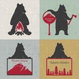 Stellen Sie Zeichen-Spaß-Bären ein Stockfoto