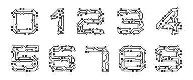 Stellen Sie Ziffern gemacht in der Stromkreis-Beschaffenheit, in Computer und in Daten bezogenem Geschäft ein, High-Tech und inno stock abbildung