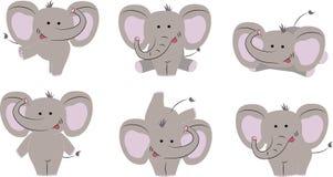 6 stellen van aardige leuke olifant De stijl van het beeldverhaal Vector illustratie stock illustratie