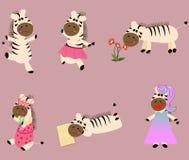 6 stellen van de zebra van de beeldverhaalstijl hand-trek Vector illustratie vector illustratie