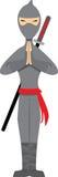 Stellen van Ninja geïsoleerdd op witte vector Stock Foto's