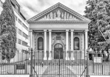 Hofmeyer Hall of the Dutch Reformed Mother Church in Stellenbosch. Monochrome. STELLENBOSCH, SOUTH AFRICA, AUGUST 16, 2018: The historic Hofmeyer Hall of the royalty free stock photos