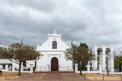 Historic Rhenish Mission Church in Stellenbosch. STELLENBOSCH, SOUTH AFRICA, AUGUST 16, 2018: The historic Rhenish Mission Church in Stellenbosch in the Western royalty free stock photos