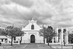 Historic Rhenish Mission Church in Stellenbosch. Monochrome. STELLENBOSCH, SOUTH AFRICA, AUGUST 16, 2018: The historic Rhenish Mission Church in Stellenbosch in royalty free stock image