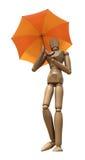 Stellende houten mannequin met paraplu. royalty-vrije illustratie