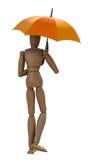 Stellende houten mannequin met paraplu. vector illustratie