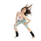 Stellende jonge danser die op wit wordt geïsoleerdA Royalty-vrije Stock Foto