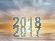 Stellentextsonnenuntergang-Unschärfehintergrund des neuen Jahres 2018 lizenzfreie stockfotografie