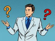 Stellt Geschäftsmannmissverständnis in Frage Stockfotos