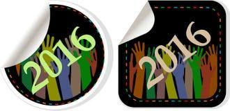 stellt Symbol des neuen Jahres 2016, Ikonen oder der Knopfsatz, der auf weißem Hintergrund lokalisiert wird, das neue Jahr 2016 d Stockbild