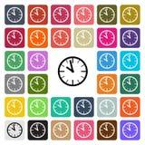 Stellte flache Designikone der Vektor-modernen Uhr in Knopf ein stock abbildung