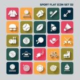 Stellte flacher Ikonensatz des Sports für Netz und Mobile 02 ein Stockfoto