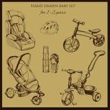 Stellte Retro- Hand gezeichnetes Baby für 1-2 Jahre alt ein Stockfoto
