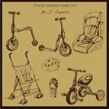 Stellte Retro- Hand gezeichnetes Baby für 2-4 Jahre alt ein Lizenzfreie Stockbilder