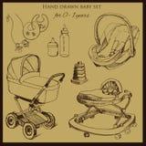 Stellte Retro- Hand gezeichnetes Baby für 1-2 Jahre alt ein Lizenzfreie Stockfotografie