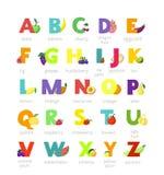 Stellten alphabetischer Gemüseguß des Fruchtalphabetvektors und fruchtige Apfelbananenbuchstabeillustration alphabetisch von ABC  lizenzfreie abbildung