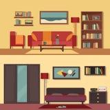 Stellten flache Illustrationsfahnen des Vektors Zusammenfassung für Räume der Wohnung, Haus ein Hauptinnenarchitektur wohnzimmer Stockbild