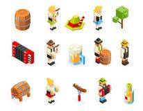 Stellten isometrische Ikonen Polygons 3d Oktoberfest Bierfass-Mannfrauenakkordeonkappenwurstgabelglasvektorillustration ein Lizenzfreies Stockfoto