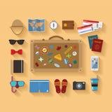 Stellten moderne flache Artikonen des Vektors für Tourismusindustrie ein Lizenzfreie Stockfotos