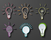 Stellten moderne Ideenikonen des Vektors auf dunklen Hintergrund ein Lizenzfreie Stockfotografie