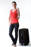 Touristische Frau bereit zur Abfahrt Lizenzfreies Stockfoto