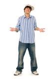 Stellung des jungen Mannes stockbild