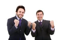Stellung mit zwei Geschäftsmännern Stockfotos
