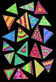 Stelna pennteckningen med färgrika trianglar Royaltyfria Bilder