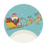 Stelt de kleuren cirkelvorm met de Kerstman in ar met rendieren en voor Royalty-vrije Stock Fotografie