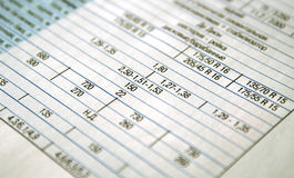 Stelt de lijst voor de rekening de financiën Stock Afbeeldingen