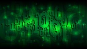 Stelt de matrijs groene achtergrond met binaire code, digitale code in abstracte futuristische cyberspace, kunstmatige intelligen vector illustratie