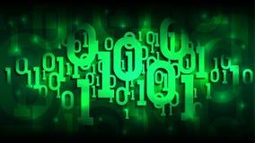 Stelt de matrijs groene achtergrond met binaire code, digitale code in abstracte futuristische cyberspace, wolk van in de schaduw royalty-vrije illustratie